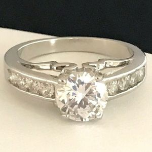 Simulated Diamond Ring Solitaire With Accents 3d